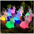 Easter Night Light Rabbit LED String Light 5ft 10 LEDs Cute Bunny Shaped Fairy Lights USB Powered Colorful Birthday Party Decoration Light Easter Tree Lights Cute Light Gifts for Kids Baby