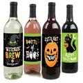 Jack-O'-Lantern Halloween - Halloween Party Decorations for Women and Men - Wine Bottle Label Stickers - Set of 4
