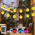 Solar String Lights Globe, Multicolor Solar Powered String Lights With Remote Control Timer, 20 Ft 40 Led Waterproof Solar Ourdoor String Lights For Halloween Christmas Camping Patio Garden Gazebo