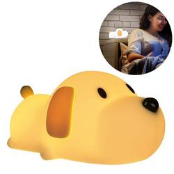 Night Light for Kids, Silicone LED Night Light, Baby Nursery Lamp with Touch Sensor, Timing and Dimming, Dual Light Mode, Cute Puppy Bedside Lamp, Desk Decor