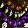 Halloween Fairy String Lights Halloween Decorations Lights Set of 3 Battery Operated Orange Pumpkins Bats Ghosts 30 LEDs Each for Halloween Party Decoration Outdoor Indoor with Remote Control