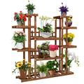 Indoor Outdoors Wood Flower Stand , 6-Tier Plant Stand, Flower Pot Stand, Multiple Tier Plant Display Rack Holder, Steady Vertical Carbonized Shelves for Patio Livingroom Balcony Garden Yard