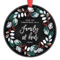 """First Christmas as a Family of 4, Ornament 2020, Parents with 2 Children, 2nd Child Baby Shower Gift Pregnancy Present Ceramic Present 3"""" Flat Circle Porcelain with Red Ribbon & Free Box OR00385"""