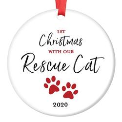 """Rescue Cat Ornament 2020 Pet Adoption Holiday Tree First Year 1st Christmas New Forever Home Kitty Kitten Adopted Ceramic Collectible Present 3"""" Flat Porcelain Keepsake with Red Ribbon & Free Gift Box"""