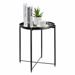 HOMRITAR Side Table Round Metal, Outdoor Side Table Small Sofa End Table Indoor Accent Table Round Metal Coffee Table Waterproof Removable Tray Table for Living Room Bedroom Balcony Office Black