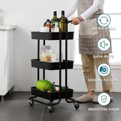 ROBOT-GXG 3 Tier Rolling Cart - Rolling Utility Cart - Kitchen Rolling Storage Cart - 3-Tier Rolling Utility Cart with Handle and Wheels Kitchen Storage Organizer Utility Cart with Mesh Basket