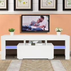 50 Inch TV Stand with 20 LED Light Modern TV Cabinet with Single Drawer, Entertainment TV Stand Cabinet, Television Table Center Console Table Shelf Furniture for Living Room Bedroom, White