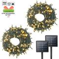 - 2Pack Each 72FT 200LED Solar Lights Outdoor, Upgraded Super Bright Solar String Lights Outdoor Waterproof, 8 Modes Solar Christmas Lights for Wedding Patio Garden Tree Party (Warm White)