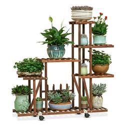 Outdoor 5 Tier Garden Wooden Plant Stand With Wheels Planter Flower Pot Shelf Wooden Flower Pot Cover small