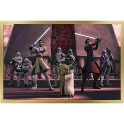 """Trends International Star Wars: The Clone Wars - Group Wall Poster 24.25"""" x 35.75"""" x .75"""" Gold Framed Version"""