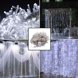 3M x 3M LE LED String Lights, Twinkle Christmas Decoration Lights,300-LED Curtain String Light, Fairy Romantic Wall Window String Lights for Wedding Party Garden Bedroom Christmas Wall Decorations