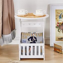 End Side Coffee Table, Beside Tea Coffee Lamp Plant Stand Furniture with Storage Basket, Bedroom Balcony Reading Table with Magazine Rack Snack Table