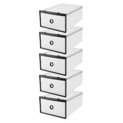 5-Pack Transparent Stackable Shoe Storage Boxes,Fosa Multifunction Plastic Foldable Shoe Boxes Storage Organiser DIY Shoe Drawers Home Storage,5 Storage Boxes