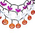 Halloween String Lights, 3 Pack 20 LED Battery Powered Halloween Decorative Lights for Indoor and Outdoor Decorations - White Ghost/Orange Pumpkin/Purple Bat