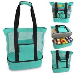 Picnic Bag Mesh Refrigerator Compartment Oversized Zipper Closed Beach Tote Bag, Food Delivery Bag, Travel Cooler, or Picnic Cooler, Reusable Waterproof Cooler Tote Bag Picnic Lunch Bag