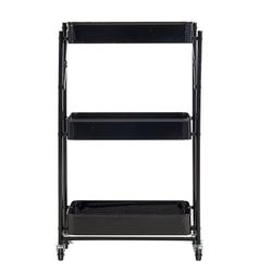 Abody FOLDBALE STORAGE CART,Foldable 3 Tier Rolling Cart Utility Folding Storage Cart with Handle, Free Installation Rolling Cart Metal Mobile Storage Organizer Cart with Wheels for Family, Black.