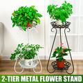 2 Tier Metal Potted Plant Stand, 31inch Rustproof Decorative Flower Pot Rack, Indoor Outdoor Iron Art Planter Holders, Garden Steel Pots Containers, Corner Display Stand, Black/White