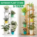 5 Tier Flower Ladder Rack, Wooden, Planter Holder, Elegant Design Floor Shelf, Indoor Outdoor Garden Patio Plant Bonsai Decorative Display Flower Rack Plant Storage Rack