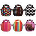 Windfall Portable Striped Dot Bear Print Insulated Cooler Picnic Food Lunch Box Bag Pouch Lunch Box/Lunch Tote/Picnic Bags Insulated Cooler Travel Organizer