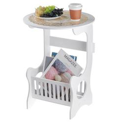 End Side Table, Bedside End Table, Round Coffee Table, Sofa Table, Storage Side Table, TV Lap Living Room Bedroom Table with Magazine Rack Snack Table