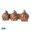Bathroom Vanity 3 Light LED With Satin Nickel Finish Multi Mosaic Glass 20 inch 40.5 Watts - World of Lamp