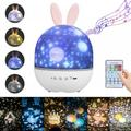 Yinrunx Baby Night Light Kids Night Light Night Light Projector for Kids Night Lamp with Remote Control for Bedroom Night Light for Kids 360° Rotation Rechargeable Night Light Projection Lamp(Rabbit)