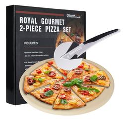 Royal Gourmet KSF1305 2-Piece Pizza Set for Grill, BBQ and Oven with 13-Inch Round Pizza Cordierite Stone and Wheel Cutter, Baking Accessories, Multi