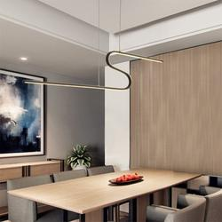 Modern Minimalist Chandelier, Nordic Style LED Office Chandelier Office Strip Aluminum Alloy Lamp Silicone Lampshade Commercial Chandelier Led Light Dimmable Light Creative Personality