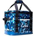 VAKKER 24 Can Insulated Cooler Bag, 3 Days Ice Life, Waterproof, 100% Leakproof, Dustproof Portable Soft Side Cooler Bag, Lunch Box for Outdoor, Camping, Hiking, Beach, Travel, Picnic (Navy Camo)