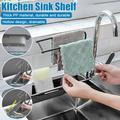 TSV Telescopic Kitchen Sink Sponge Holder, Adjustable Sink Storage Rack Drainer Sink Tray, Expandable Storage Drain Basket Rack for Towel Bar Sponge Soap Holder