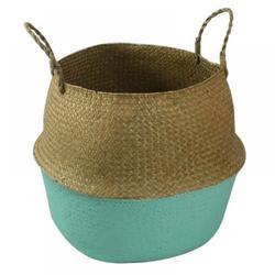 Retap Seagrass Wickerwork Basket Rattan Foldable Hanging Flower Pot Planter Woven Dirty Laundry Basket Storage Basket Home Storage Decor Basket