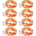 8 Pack Fairy Lights 7.2ft 20 LEDs Battery Operated Starry String Lights Cooper Wire Twinkle Lights Halloween String Lights Firefly Lights for Bedroom Indoor DIY Christmas Decoration- Orange