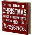"""Rustic Christmas Sign Decor Wood Plaque Hanging Wall Art Sign, 8"""" X 8"""" Primitive Christmas Box Sign Hanging Decoration Wooden Wall Decor Sign The Magic Of Christmas Home Decor Accent (Xmas Sign D)"""