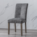 Piscis Dining Chair Set of 2, Modern Tufted Side Chairs Armless High-Backrest Cushion Seat With Solid Beech Leg, Dark Grey