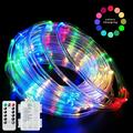 Fatpoom LED Rope Lights Battery Operated String Lights 40Ft 120 LEDs 8 Modes Outdoor Waterproof Fairy Lights Dimmable/Timer with Remote for Camping Party Halloween Christmas Decoration Multi-Color