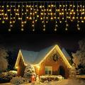 LED Icicle Lights,1216LEDs,98.4ft,8Modes,Curtain Fairy String Light Plug in for Indoor Outdoor Wall Decorations/Party Backdrops/Christmas/Halloween/Thanksgiving/Easter/Wedding/Gazebo(Warm White)