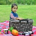 25L Portable Folded/Insulated Bag , Insulated Leakproof Compartment Thermal Cooler ,Double Zip Insulated Basket,20KG Load Cooler Bag(17x9x10 Inch)