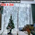 Window Curtain String Lights, 1200-LED Light And 8 Lighting Modes Romantic Christmas Wedding Party Home Garden Bedroom Outdoor Indoor Wall Decorations String Light-12M x 3M ,Cold White