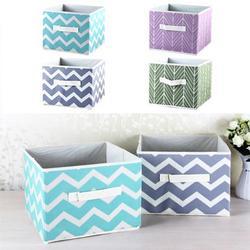 """Yipa Non-Woven Fabric Storage Bins Stripe Storage Box Foldable Storage Cubes Cotton Linen Storage Basket 11""""x11""""x11"""" Storage Organizer for Clothes,Toys,Books"""