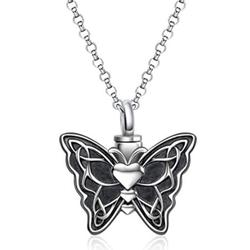 SHIYAO Butterfly Urn Necklaces for Ashes Necklace, Cremation Urn Necklace Jewelry for Human/Pet, Memorial Ash Pendant Necklace Keepsake Gifts(Butterfly)