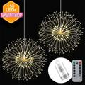 150 Christmas Fireworks Starburst String Lights Waterproof Exploding Star Copper Wire Lamp Party Wedding Festival Indoor Remote Control Battery Lights White/Multicolor(not Include Battery)