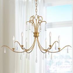 """Possini Euro Design Possini Euro Charlotte 37"""" Wide Gold Leaf 6-Light Chandelier"""