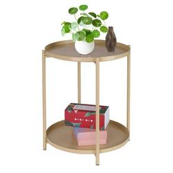 Joau Tray Metal End Table, Round Side Table Small Sofa End Table, Outdoor & Indoor Snack Table, Waterproof Accent Coffee Table for Living Room Bedroom Balcony Office