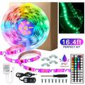LED Strip Lights for Bedroom, 16.5 Feet 300-LED 3528 Waterproof Flexible RGB Strip Lights with 44Key Remote & 12V DC Power Supply for Home Room Ceiling Bar Counter Cabinet Lighting Decoration