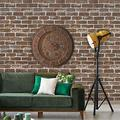 """HeloHo 196.8"""" X 17.71"""" Vintage Brown Brick Wallpaper Peel and Stick Wallpaper 3D Faux Textured Self Adhesive Wallpaper Removable Wall Paper Bedroom Basement Classroom Decor Easy to Install"""