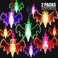 DecorX 2 Pack Halloween Lights Outdoor 19.7ft 40 LED Halloween String Lights 3D Bat Halloween Lights Battery Operated Waterproof Halloween Lights 8 Modes for Halloween Decorations Outdoor, Indoor