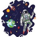 """Adhesive Home Art Solar System Decor Abstract Shape Outer Space Background Wall Decal Design - 20"""" x 21"""" Removable Kids Bedroom Vinyl Stars Planets Space Shuttle & Astronaut Wall Sticker Decoration"""