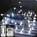 Battery Powered LED Globe String Lights Ball Fairy Lights with Remote, 33ft 100 LED 8-Mode Twinkle Lights with Timer, Indoor Outdoor Decorative Hanging Lights for Bedroom, Dorm, Camping(White)-2PACK