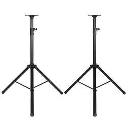 Hi.FANCY Pair of Speaker Stands Portable Foldable Tripod with 2 Detachable Trays Height Adjustable Speaker Holder Rack