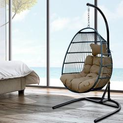 enyopro Rattan Swing Hammock Egg Chair, Hammock Chair Hanging Chair with Stand, Cushion and Pillow, Large Seat UV Resistant Soft Deep Cushion Relaxing Basket Chair, for Indoor Outdoor Bedroom Garden
